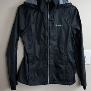 Black COLUMBIA Hooded Windbreaker Light Jacket